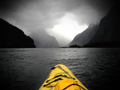 Kayaking in Milford Sound, NZ