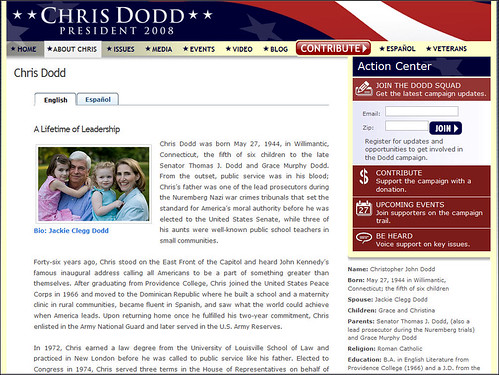 Chris Dodd for President Meet Chris page