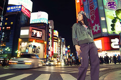Catalog Cover Shoot (E.C.A. Studio) Tags: street city longexposure cars fashion japan night advertising lights tokyo shinjuku neon designer commercial brand catalogue strobe strobist
