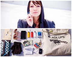 Stephanie Diptych (J Trav) Tags: sunglasses keys diptych wallet gloves receipt stephanie lighters cigarettes tote iphone d40 powerbill