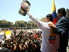People protested against FARC in Lima, Peru, too