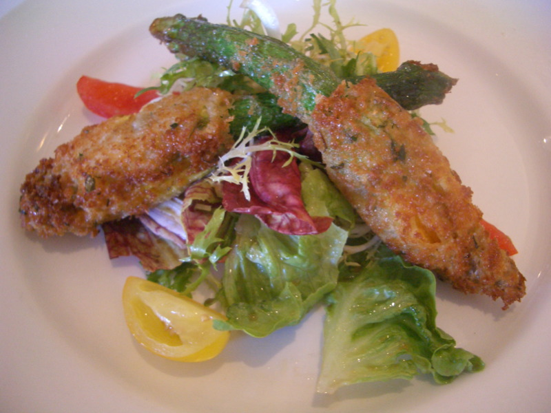 Zucchini flowers stuffed with goats cheese