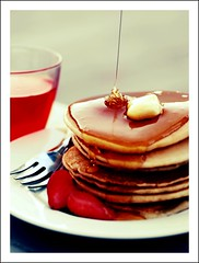 Sunday Morning .. (GirLy  GirL) Tags: morning red macro love glass pancakes breakfast gg strawberry juice sunday fork honey butter syrup