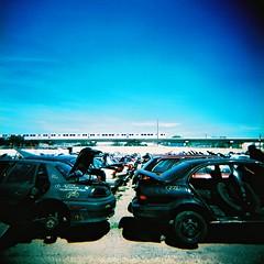 006 (La Practica Photography) Tags: film crossprocessed junkyard holga120n picknpull kodakektachromee200