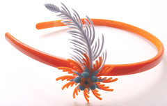 Orange and Blue Vintage Flowers Headband