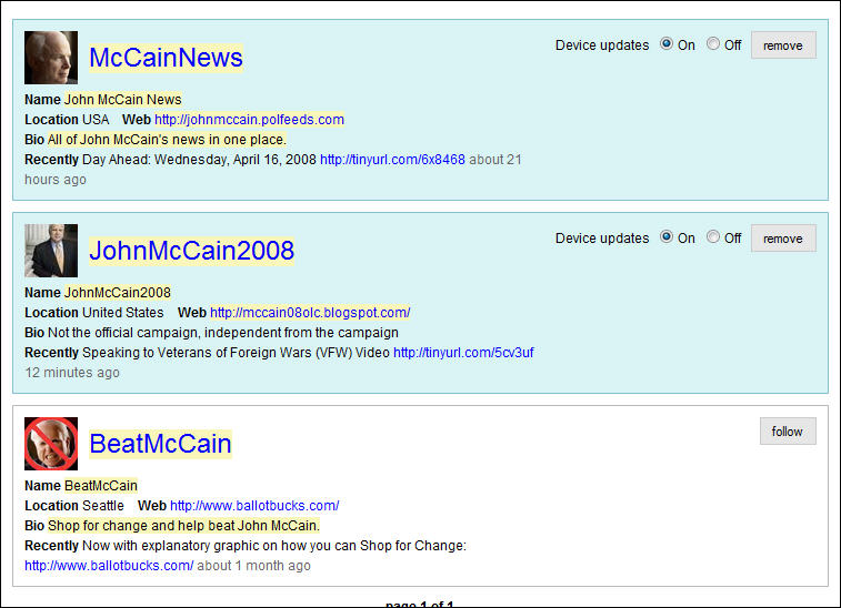 Twitter Search for 'John McCain'