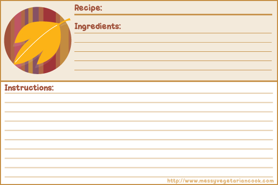 Autumn Breeze Free Recipe Card Templates Lined Messy – Recipe Card Templates