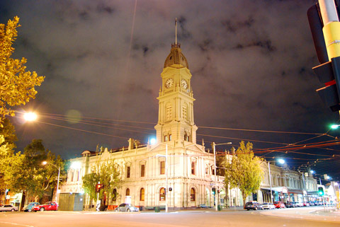 North Melbourne Town Hall, by night