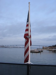IMG_3641 (jayasolo) Tags: california bridge water bay boat sandiego flag americanflag date coronado 2008 redwhiteblue coronadobridge