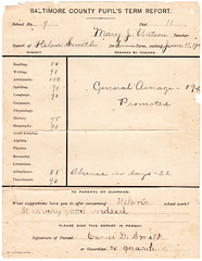 Report Card, Summer 1903