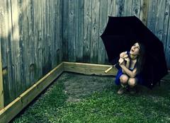 Hello Sunshine. (star of the seaa) Tags: selfportrait grass umbrella fence dress dirt snowboots