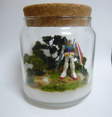 Bottled mini Gundam bonsai