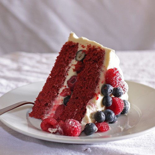 My Madison Bistro Red Velvet Cake With Raspberries And Blueberries