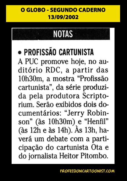 """""""Profissão Cartunista"""" - O Globo - 13/09/2002"""