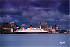 QE2 at Dusk (petecarr) Tags: liverpool boat ship queenelizabeth2 qe2 cruiseterminal