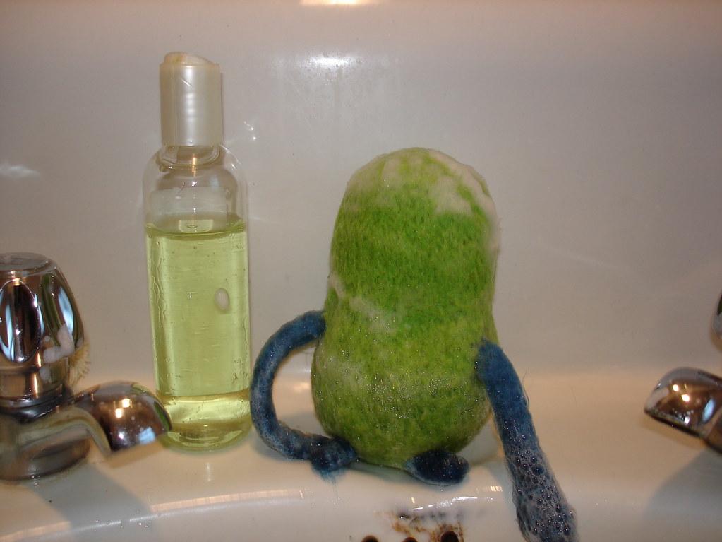 Washing his hair