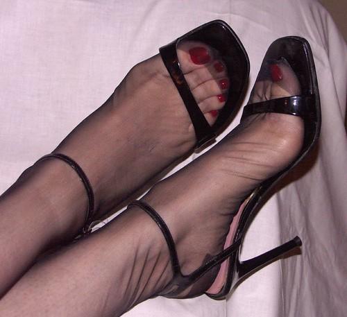 Black stockings high heels