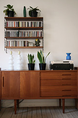 (sandra juto) Tags: wood blue plants white records clock home lamp wall floor cabinet parrot shelf livingroom stereo vase string drawers sideboard teak myeverydaylife munny nilsjonsson