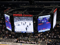 End of first period (mark6mauno) Tags: hockey nhl losangeles los angeles ducks center kings national anaheim staples league scoreboard staplescenter losangeleskings nationalhockeyleague anaheimducks canonpowershots3is 200708