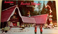 Greetings from Santa's Village California postcard (Smaddy) Tags: california santa christmas ca holiday snow mushroom cane village candy postcard elf 1967 amusementpark 1960s claus themepark elves skyforest gphchallenge