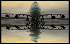 Air Force One Memories (Kris Klop - clearskyphotography.com) Tags: sky usa reflection sepia plane airplane one 1 fly us flying airport force searchthebest aircraft aviation air presidential des airforceone boeing usaf 747 dsm moines b747 desmoines presedent kdsm