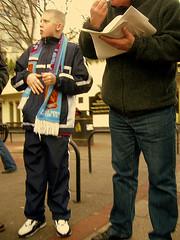 Man and Boy #3 (Herschell Hershey) Tags: street boy london tattoo scarf fan football trainers supporter futebol skinhead westham newham shellsuit