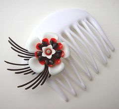 White, Black and Red Vintage Flowers Hair Comb / Barrette