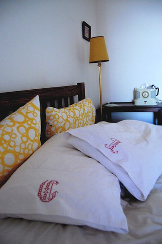 Finished #2 - linen pillow cases w monograms