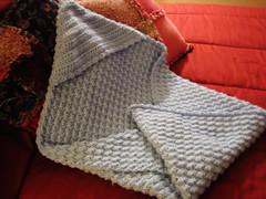 Hooded baby blanket knitting pattern
