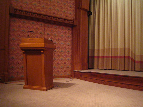 Podium in the screening room