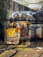 Dissevered Trains of Notion (Dead  Air) Tags: railroad sunlight collage train portland tracks stjohns rail railway overlay litter unionpacific filters engineer workman railroadtracks exposures freighttrain pierpark canonpowershota720is