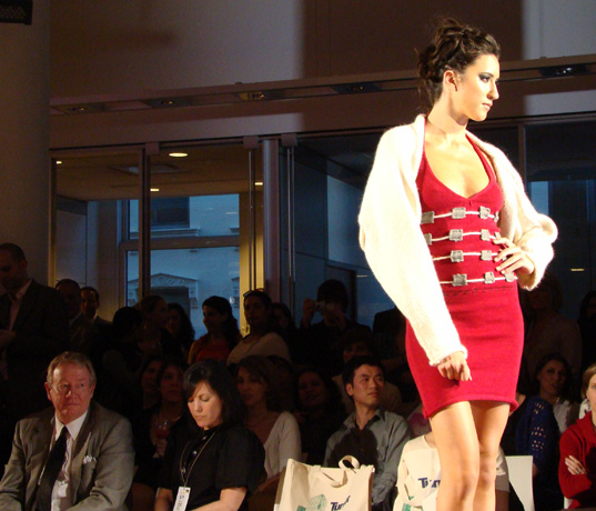 Red Knit Dress by Cynthia McMullen, Project Earth Day Eco Fashion Show 2008, Green Fashion, Eco Fashion, Sustainable Style, Organic Fashion, Inhabitat photography, Jill Fehrenbacher photography, eco fashion, Green Project Runway