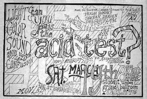 PICO ACID TEST ORIGINAL NEWSPAPER AD showing UCLA Student Union Grand Ballroom... look, Hugh Romney was listed... a.k.a. Wavy Gravy.  Ken Kesey and the Merry Pranksters were there also, of course.