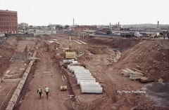 Ring Road St Davids, Wolverhampton under construction, 1985. (Lady Wulfrun) Tags: road building drive construction railway ring 1985 stdavids wolverhampton