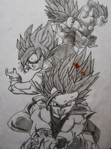 goku super saiyan drawing. Saiyan Warriors