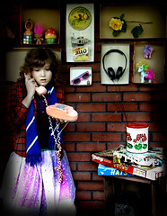 Hello? (olivia bee) Tags: game mushroom girl sunglasses rose scarf robot phone box board skirt 45 record teenager headphones troll conversation jello mylittlepony rubikscube oliviabee