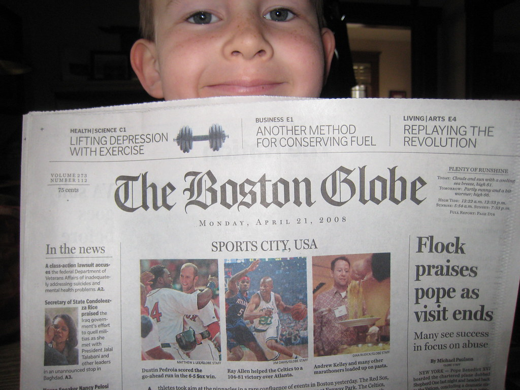 Hayden proudly displaying The Boston Globe from the morning of the 2008 Boston Marathon, where magically Andy's picture made it on the front page next to Dustin Pedroia and Ray Allen