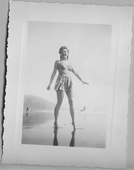 Bathing Beauty Reflection (carlafrances) Tags: ocean old sea blackandwhite reflection beach water vintage pose found photo seaside pretty antique picture collection photograph shore fleamarket pinup bathingsuit tiptoes
