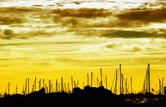 Sea of clouds... (icemanigation) Tags: sunset sky orange cloud brown white black rock skyline backlight clouds port marina dark boats harbor boat rocks harbour yacht mast yachts breakwater yachting icemanigation