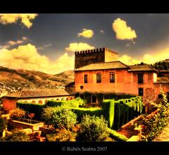 Alhambra - *HDR (*atrium09) Tags: light espaa architecture clouds garden landscape spain arquitectura olympu