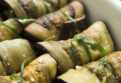 Eggplant and feta rolls