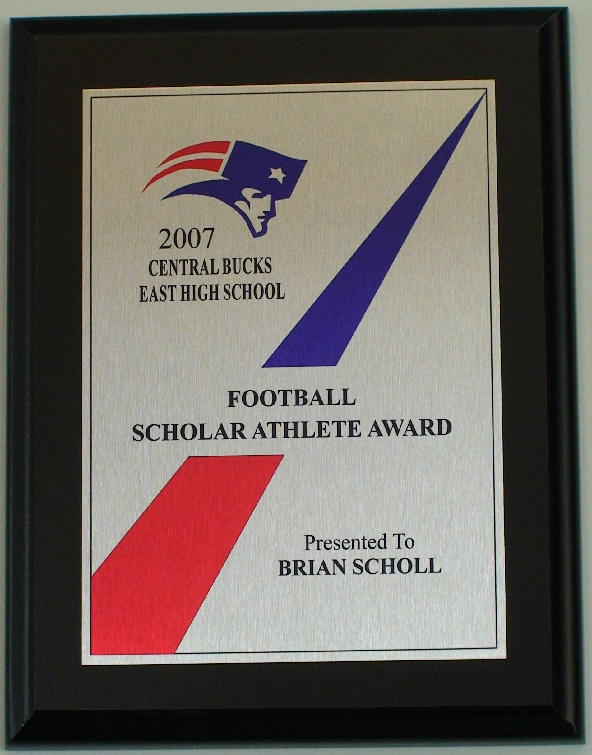 central bucks plaque scholar athlete coaches awards plaques