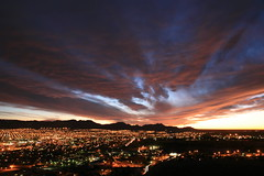 el paso comes alive (tgagephoto) Tags: pink blue sunset sky orange mountains yellow night clouds canon gold lights texas purple cloudy hometown scenic elpaso vista 5d overlook touristspot copyrighted scenicdrive cinematicorchestra ihveissues tomgagephotography tgage