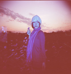 Fabienne (Fabienne Lin) Tags: flowers portrait people nature girl holga lomo lomography cosmos outing holgagraphy 120gcnf