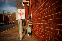 Fire Lane (shiphome) Tags: industry sign noparking utilities springmorning approachingstorm redbrickbuilding commercest oldfortnc