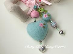 Taschennhaenger-mint (*ShabbyRosesCottage*) Tags: pink felted heart felting frog fimo frosch anhnger filzen gefilzt filzkugeln filzherz