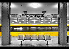 Subway Colorkey (Marcus Klepper - Berliner1017) Tags: berlin yellow speed germany bench underground deutschland grey lights movement europa europe linie platform zug bahnhof gelb trainstation bewegung ubahn alexanderplatz exit schatten bahnsteig lampen u5 bvg geschwindigkeit sitzbang