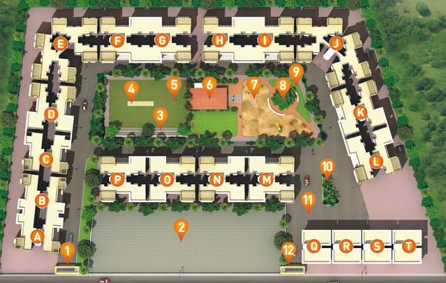 Anandgram Talegaon Dhamdhere Layout Plan 2 BHK Flats in - D, E, F, G, H, I, J, K, L, M, N, O, & P  Buildings
