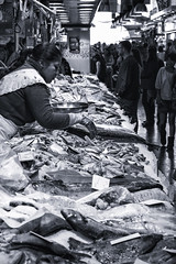 Ingredients (TheGriefmeister) Tags: barcelona bw fish canon 50mm spain market f14 software 7d nik trader silverefexpro2