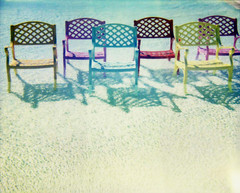 chairs (jena ardell) Tags: california blue water colors pool polaroid rainbow colorful shadows chairs swimmingpool polaroidspectra spectra madonnainn sanlouisobispo polaroidnerdout